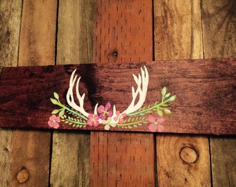 Made To Order- Antler & flowers wood art, woodland nursery art, antler wall decor,deer antler art, antler decor, baby girl nursery