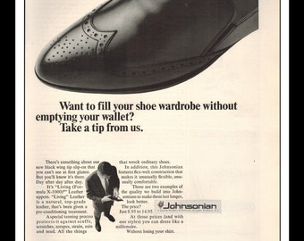"Vintage Print Ad May 1965 : Johnsonian Leather Shoes Fashion Clothing Wall Art Decor 8.5"" x 11"" Advertisement"