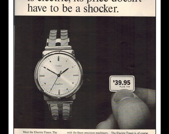 """Vintage Print Ad May 1965 : Timex - The Electric Timex Watch Wall Art Decor 8.5"""" x 11"""" Print Advertisement"""