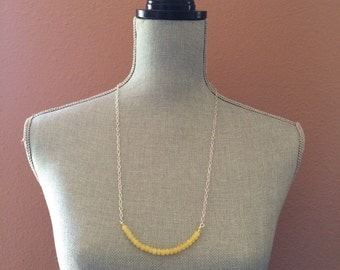 Yellow Bar Necklace, Silver