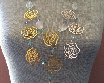 Roses are Blue, Gold, and Silver Statement Necklace