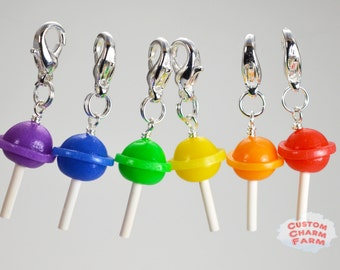Lollipop Charm in Purple, Blue, Green, Yellow, Orange and Red.