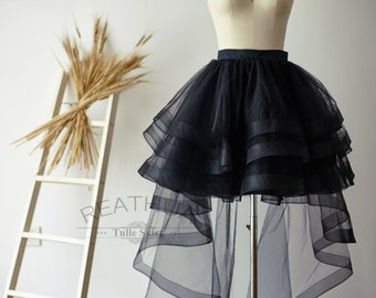 Black Horsehair Women Tulle  Skirt Hi Low Asymmetrical TUTU Bridal Wedding Bridesmaid Skirt/Prom Party Skirt