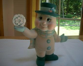 ceramic snowman,holding snowflake,Christmas decoration