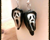 Polymer clay fimo earrings Halloween scream masks from the film holiday earrings  Halloween . Ooak miniature characters film buff