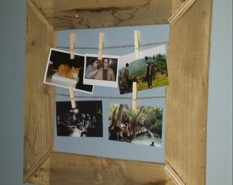Rustic clothes pin picture frame