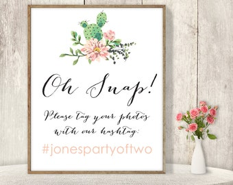 Wedding Hashtag Sign / Instagram Sign / Pink Flowers and Cactus Succulent / Mexican Fiesta ▷ Printable File {or} Printed & Shipped