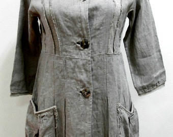 Linen clothing, linen jacket, gray linen , boho chic,