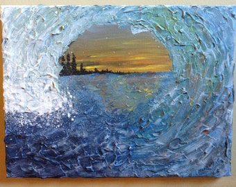 Sun Setting Through The Wave