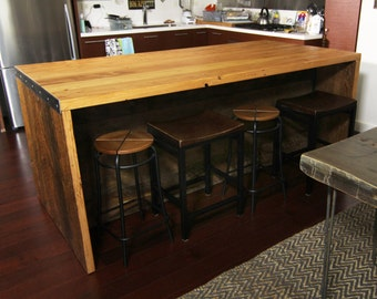 7 ft Kitchen Island with shelving