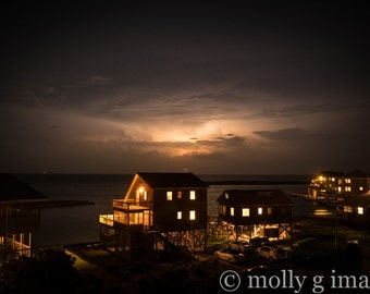 Lightning photography water houses 8x10 print 11x14 print 16x20 print