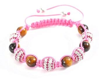 Tiger's Eye Pink Rhinestone Macramé Shamballa Bracelet 7-10 Inches Adjustable