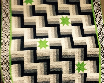 Black and White with Lime Green lap quilt