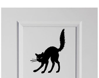 Black Scaredy Cat Halloween Vinyl Decal Sticker Decor for Home