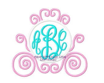 Monogram Initial Carriage Embroidery Applique Design Instant Download Digital File