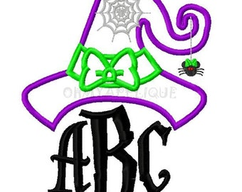 Monogram Initial Halloween Witch Hat Embroidery Applique Design