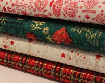 Christmas Fat Quarter Bundle - Patchwork Fabric, 100% Cotton