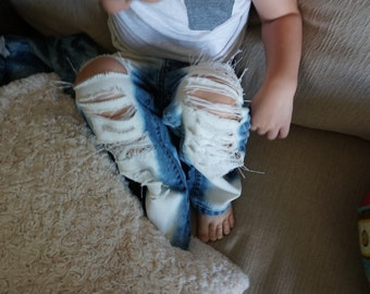 Distressed toddler denim