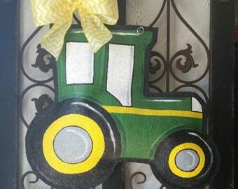 Green tractor hand painted burlap door hanger, welcome sign