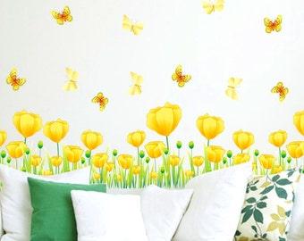 Nursery Wall Decal,  Tulip Wall Decal, Nursery Tulip Wall Decal, Tulip Wall Stickers, Children's Room Wall Decal