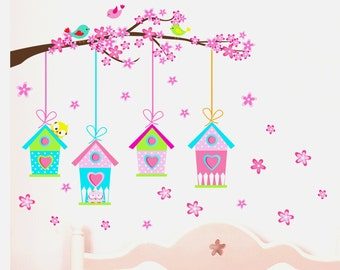 Nursery Wall Decal, Nursery Bird House Wall Decal, Nursery Bird Wall Decal, Bird House Wall Decal, Bird House Wall Sticker