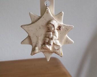 Ceramic Flat Ornament - Hummel Firgurine-Glazed in Eggnog-trim with fired gold(#536B)