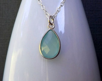 Aqua Necklace Sterling Silver Aqua Chalcedony Pendant Pastel Blue Simple Gemstone Womens Necklace