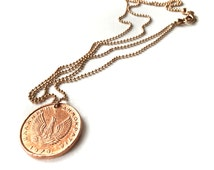 rosegold plated long necklace with coin pendant, 2 different sides