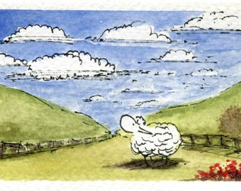Little Fluffy Clouds - ACEO ORIGINAL WATERCOLOUR Painting by Jon Warren