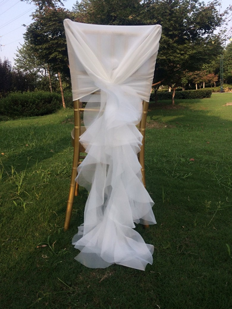 new wedding chiffon chair sash wrap sash with organza