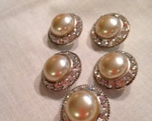 Vintage Pearl and Rhinestone Round Buttons