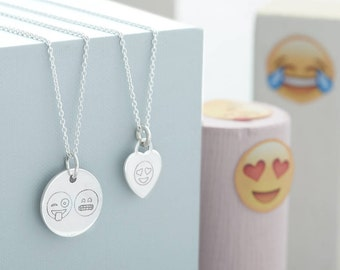 Personalised Sterling Silver Emoji Necklace