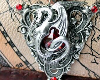Vintage fantasy gothic steampunk snake dragon pendant