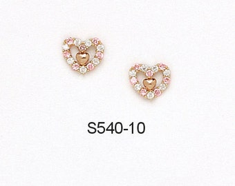 14K Pure Solid Yellow Gold Heart Earrings Pink Tourmaline October Birthstone Set with Cubic Zirconia