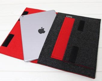 Modern iPad Sleeve, Red felt sleeve, iPad Air sleeve, iPad Air 2 case, iPad 2 case, iPad 2, iPad 3, iPad 4, Tablet sleeve, iPad Pro sleeve