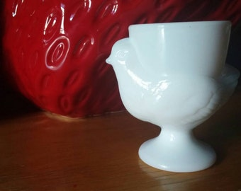 Vintage milk glass chicken egg cup made in france