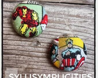 Hero set fabric button earrings
