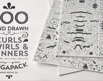 600 Hand Draw curls, swirls and banners