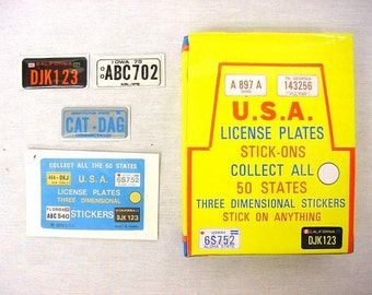 Vintage License Plate Sticker store display 72 packs new old stock