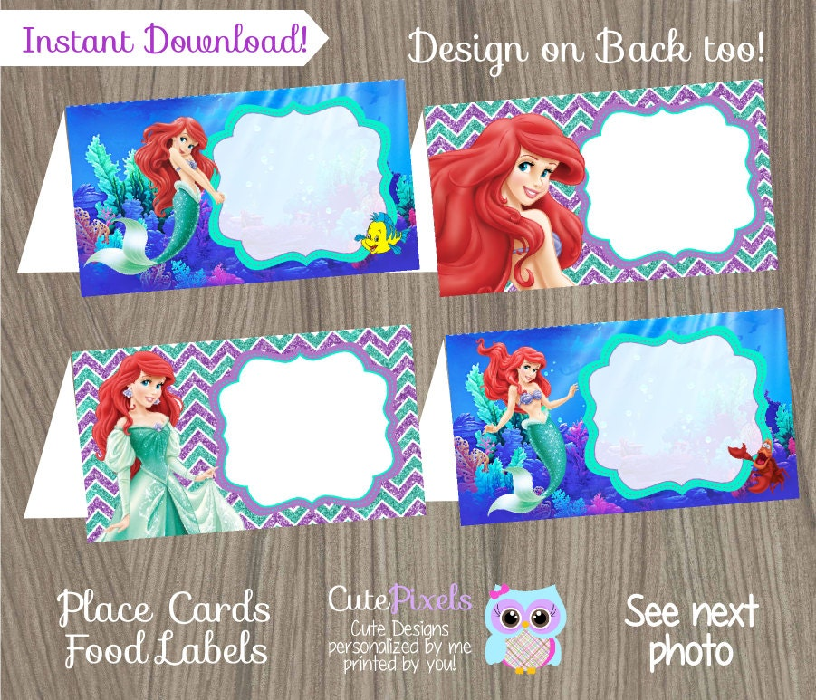 little mermaid place cards ariel place cards disney little