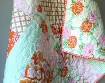 Baby Quilt Modern- Girl Bedding- Pink Aqua Orange- Up Parasol- Infant Toddler Baby- Shabby Chic Nursery- Floral Damask- Girl Crib Blanket