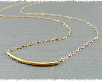Delicate Curve Bar / layered necklace / 14k gold-filled