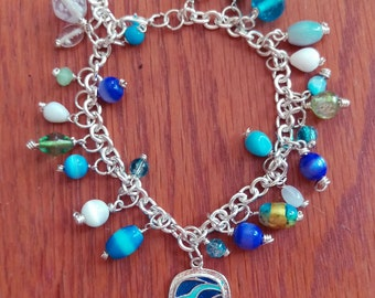 Calm blue ocean Inspired beaded charm bracelet
