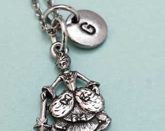 Fairy godmother necklace, fairy charm, princess necklace, personalized necklace, initial necklace, initial charm, monogram