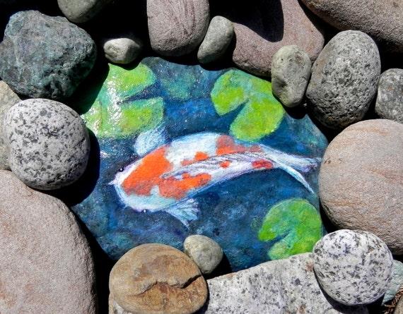 Koi pond pond rock art outdoor garden art rock garden art for Koi pond gift ideas