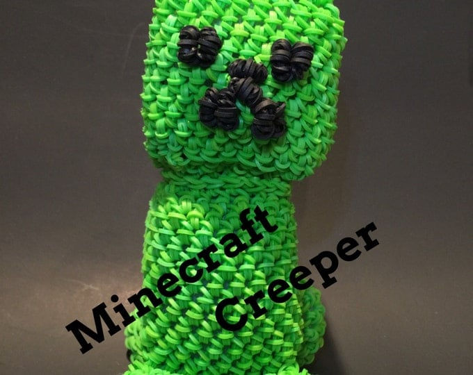 Minecraft Creeper Rubber Band Figure, Rainbow Loom Loomigurumi, Rainbow Loom Character