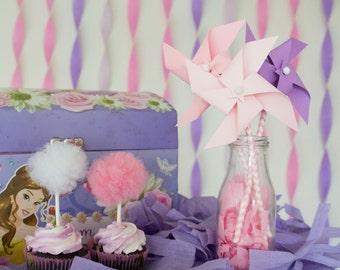 Pinwheels, paper pinwheels, pink pinwheels, party pinwheels, first birthday, 1st birthday, children birthday, princess, princess party