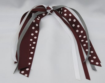 School Uniform Ponytail Streamers - Maroon
