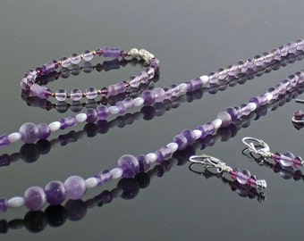 Amethyst and Mother of Pearl Necklace, Bracelet and Earring Set