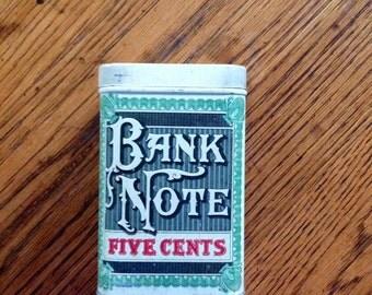 Bank Note Cigar Tin, 1930s
